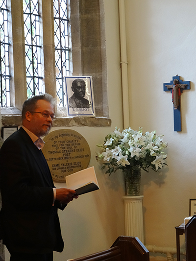 Christopher Southgate at the 50th anniversary of the death of T.S. Eliot
